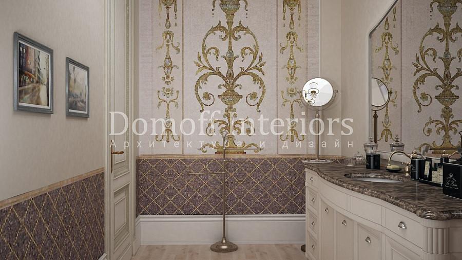 Мозаика в ванной комнате с растительным принтом