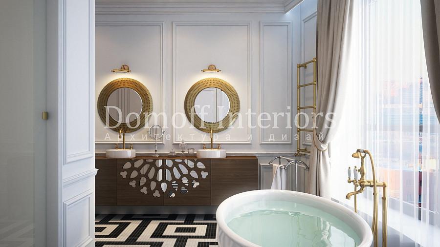 Мозаика на полу в ванной в виде геометрического рисунка
