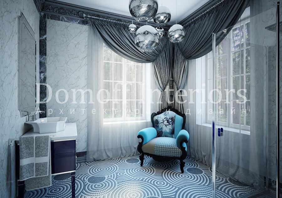 Мозаика на полу в гостевом санузле